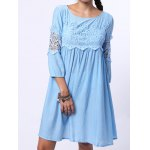 best Chic Round Neck 3/4 Sleeve Cut Out Pure Color Women's Dress