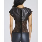 Chic Short Sleeves Jacquard Stud Embellished Women's Bustier deal