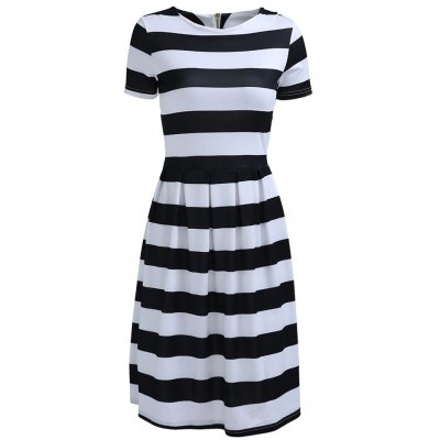 Round Neck Short Sleeve Striped Dress