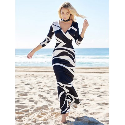 Novelty Plunging Neck Abstract Printed High Waist Maxi Dress For Women