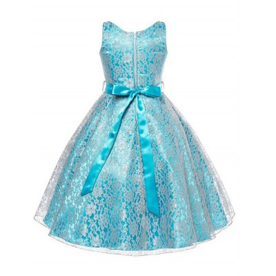 Sweet Sleeveless V-Neck Belt-Tie Girls Lace DressGirls Clothing<br>Sweet Sleeveless V-Neck Belt-Tie Girls Lace Dress<br><br>Style: Cute<br>Material: Lace,Polyester<br>Silhouette: Ball Gown<br>Dresses Length: Mid-Calf<br>Neckline: V-Neck<br>Sleeve Length: Sleeveless<br>Embellishment: Lace<br>Pattern Type: Patchwork<br>With Belt: Yes<br>Season: Summer<br>Weight: 0.254kg<br>Package Contents: 1 x Dress  1 x Belt