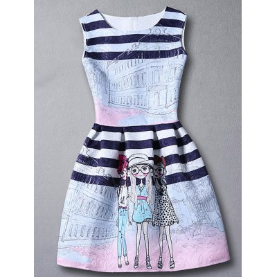 Cute Stripes Figure Pattern Sleeveless Dress