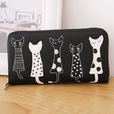 Cute Cat Pattern and Zip Design Wallet For WomenWomens Bags<br>Cute Cat Pattern and Zip Design Wallet For Women<br><br>Wallets Type: Organizer Wallets<br>Gender: For Women<br>Style: Fashion<br>Closure Type: Zipper<br>Pattern Type: Character<br>Main Material: PU<br>Length: 19CM<br>Width: 2.5CM<br>Height: 10CM<br>Weight: 0.191kg<br>Package Contents: 1 x Wallet