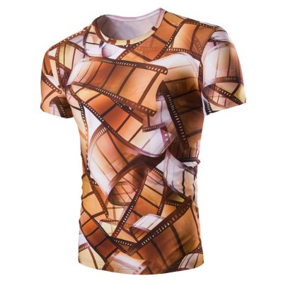 3D Vintage Style Roll Film Print Round Neck Short Sleeves T-Shirt For Men