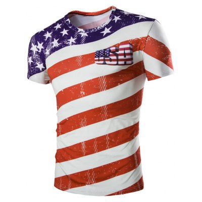 Casual Striped Printed Short Sleeves Men's T-Shirt