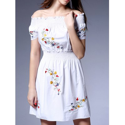 Sweet Off-The-Shoulder Embroidered Women's White Dress