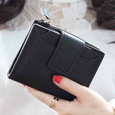 Concise Solid Color and Hasp Design Small Wallet For Women
