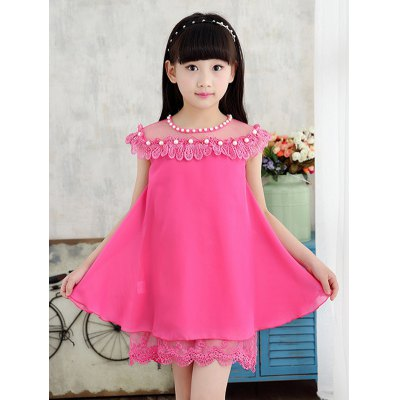 Sleeveless Beaded Lace Spliced Candy Color Girl's Dress