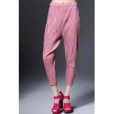 Solid Color Ruched Ninth Pants