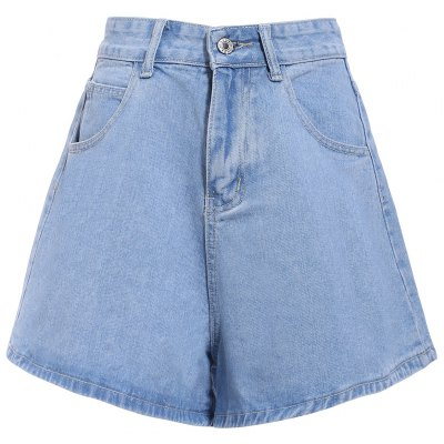 Mid-Waisted Pocket Design Loose-Fitting Pure Color Women's Shorts