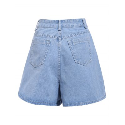 Chic Mid-Waisted Pocket Design Loose-Fitting Pure Color Women's Shorts