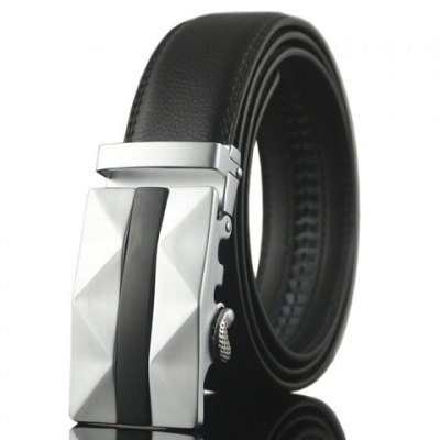 Wavy Shape and Black Stripy Embellished Automatic Buckle Belt For Men