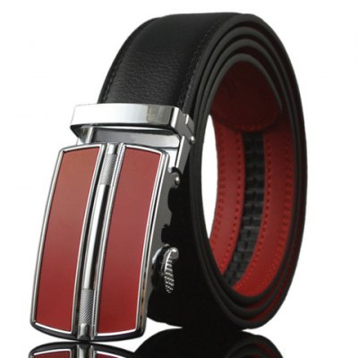 Stylish Geometry Shape Red Automatic Buckle Two Color Match Belt For Men