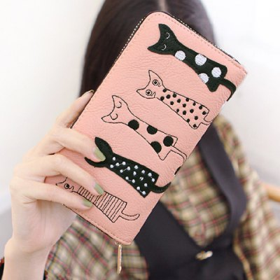 Cute Cat Pattern and Zip Design Wallet For Women
