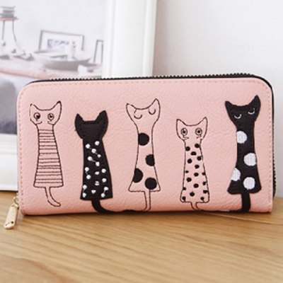 Cute Cat Pattern and Zip Design Wallet For WomenWomens Wallets<br>Cute Cat Pattern and Zip Design Wallet For Women<br><br>Wallets Type: Organizer Wallets<br>Gender: For Women<br>Style: Fashion<br>Closure Type: Zipper<br>Pattern Type: Character<br>Main Material: PU<br>Length: 19CM<br>Width: 2.5CM<br>Height: 10CM<br>Weight: 0.191kg<br>Package Contents: 1 x Wallet