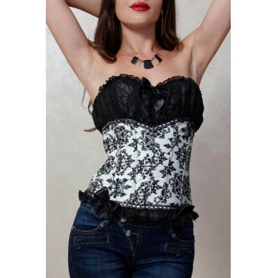 Bowknot Floral Print Corset For Women