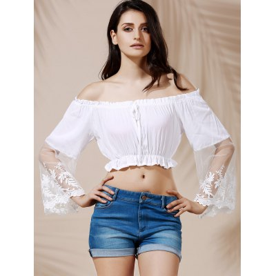 Graceful Off-The-Shoulder Flare Sleeve See-Through White Crop Top For Women