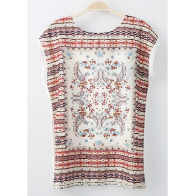 Round Collar Short Sleeves Tribal Pattern Lace-Up T-Shirt