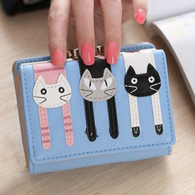Cute Cat Pattern and PU Leather Design Small Wallet For Women