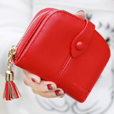 Stylish Tassel and Solid Color Design Small Wallet For Women
