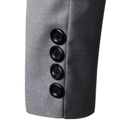 Turn-Down Collar Solid Color Single-Breasted Patch Pocket Long Sleeve Blazer For Men