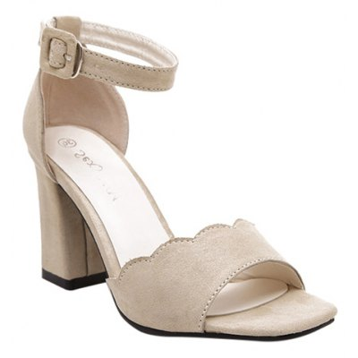Graceful Suede and Chunky Heel Design Sandals For Women