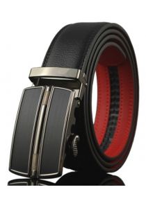 Stylish Geometry Shape Automatic Buckle Black Match Red Belt For Men