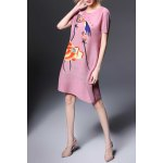 Round Collar Ruched Lotus Print Dress for sale