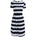 Chic Women's Round Neck Short Sleeve Striped Dress