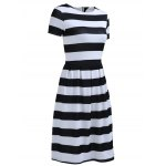 cheap Chic Women's Round Neck Short Sleeve Striped Dress