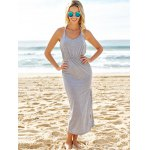 Sexy V Neck Sleeveless Backless High Slit Maxi Taupe Dress deal