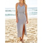 Sexy V-Neck Sleeveless Backless High Slit Women's Taupe Dress