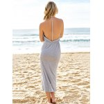 best Sexy V-Neck Sleeveless Backless High Slit Women's Taupe Dress