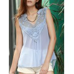 Chic Women's V Neck Lace Spliced Chiffon Tank Top