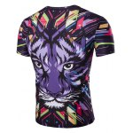 cheap 3D Tiger Print Corol Round Neck Short Sleeves T-Shirt For Men