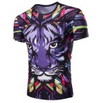 3D Tiger Print Corol Round Neck Short Sleeves T-Shirt For Men