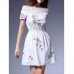 cheap Sweet Off-The-Shoulder Embroidered Women's White Dress