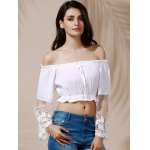 Graceful Off-The-Shoulder Flare Sleeve See-Through White Crop Top For Women deal