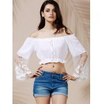 cheap Graceful Off-The-Shoulder Flare Sleeve See-Through White Crop Top For Women