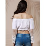best Graceful Off-The-Shoulder Flare Sleeve See-Through White Crop Top For Women