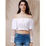 Graceful Off-The-Shoulder Flare Sleeve See-Through White Crop Top For Women for sale
