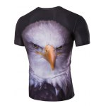 cheap Stereoscopic Night Owl Print Round Neck Short Sleeves T-Shirt For Men
