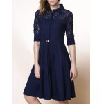 Buy Purplish blue Elegant Shirt Collar 3/4 Sleeve Lace Design Cut Midi Dress Women-29.36 Online Shopping GearBest.com