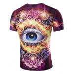 cheap 3D Abstract Eye Print Round Neck Galaxy T-Shirt