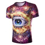 3D Abstract Eye Print Round Neck Short Sleeves T-Shirt For Men