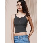 cheap Chic Women's Spaghetti Strap Grey Crop Top