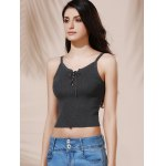 Chic Women's Spaghetti Strap Grey Crop Top deal