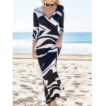 Women Novelty Plunging Neck Abstract Printed High Waist Maxi Dress