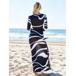 Women Novelty Plunging Neck Abstract Printed High Waist Maxi Dress for sale
