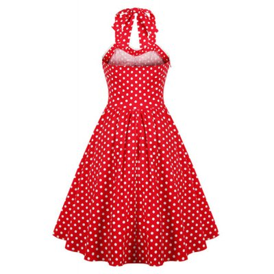 Retro Style Ruffled Polka Dot Halter Dress For WomenWomens Clothing<br>Retro Style Ruffled Polka Dot Halter Dress For Women<br><br>Style: Vintage<br>Material: Cotton Blend<br>Silhouette: Ball Gown<br>Dresses Length: Knee-Length<br>Neckline: Halter<br>Sleeve Length: Sleeveless<br>Pattern Type: Polka Dot<br>With Belt: No<br>Season: Summer<br>Weight: 0.320kg<br>Package Contents: 1 x Dress